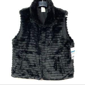 NWT Gallery Vest Black Faux Reversible WOMENS XL